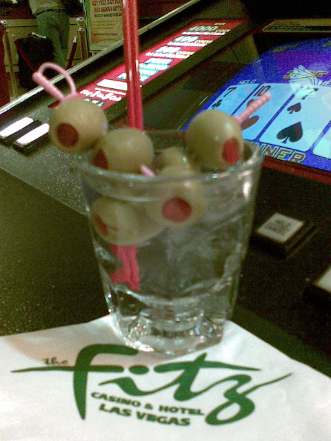 Huge drink with extra olives at Fitzgerald's Casino Las Vegas