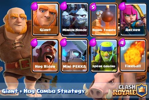 Strategi Serangan Giant dan Hog Rider Arena 4 Clash Royale