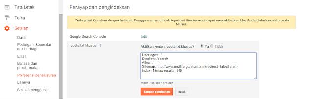 setting robot txt