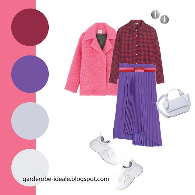 Фиолетовая плиссированная юбка с рубашкой в клетку