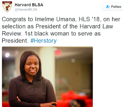 Nigerian Lady, Imelme Umana, becomes first black woman to be President of the Harvard Law Review