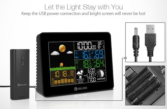 Digoo DG-TH8868 Wireless Full-Color Screen Digital USB Outdoor Barometric Pressure Weather Station Hygrometer Thermometer Forecast Sensor Clock