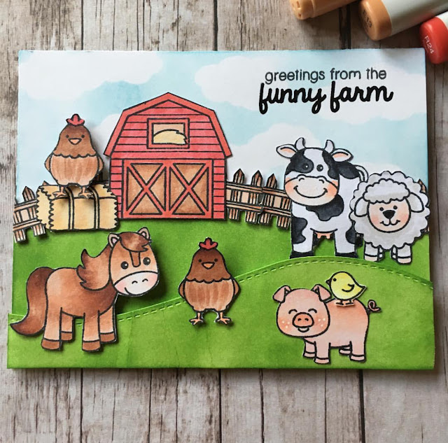Sunny Studio Stamps:  Barnyard Buddies card by Lindsay