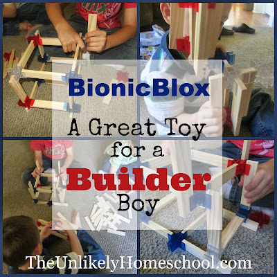 BionicBlox: a great toy for developing architectural/engineering skills.  Kids can learn numerous math concepts through open-ended, self-directed play.-The Unlikely Homeschool