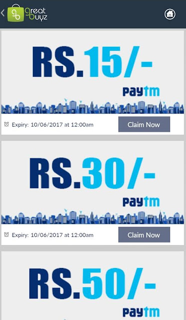 Great Buyz App Loot - Get Paytm Cash + upto 95 Rs Paytm Cash Per Refer