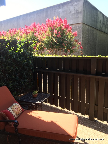 patio in guest room at Rancho Caymus Inn in Rutherford, California
