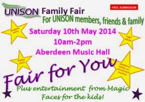 Come along to the UNISON Family Benefits Fair Saturday 10th May 2014 and find out how UNISON membership benefits you