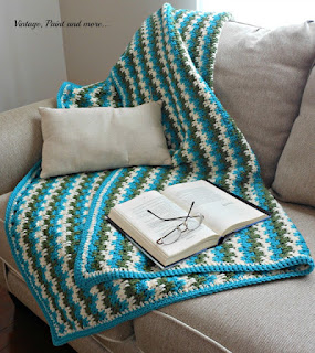 crochet Leaping stripes and blocks afghan