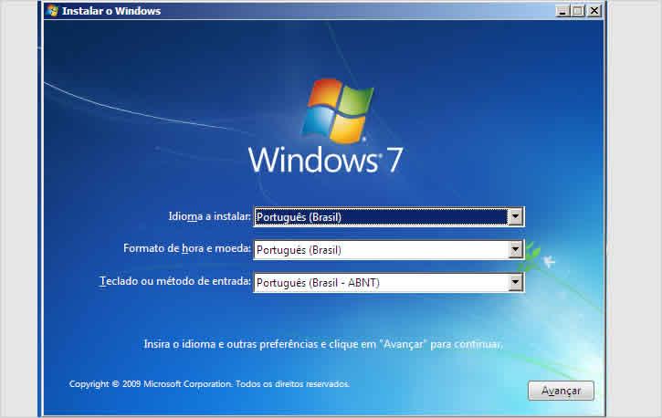 Tela de instalação do Windows 7 - Redefinir senha