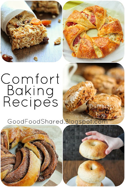5 Comfort Baking Recipes, all with step by step photographs. Everything from Bagels to Granola Bars! GoodFoodShared.Blogspot.com
