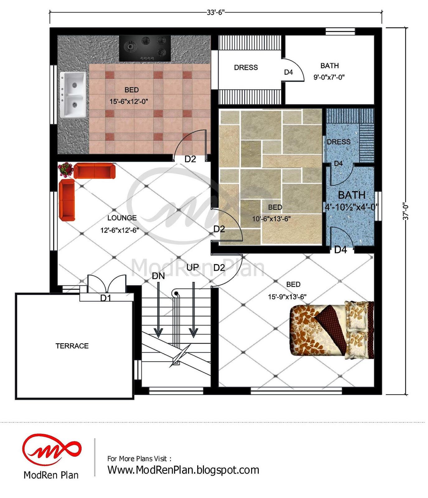 7 marla house plan  1800 sq ft  46x41 feet www.modrenplan ...