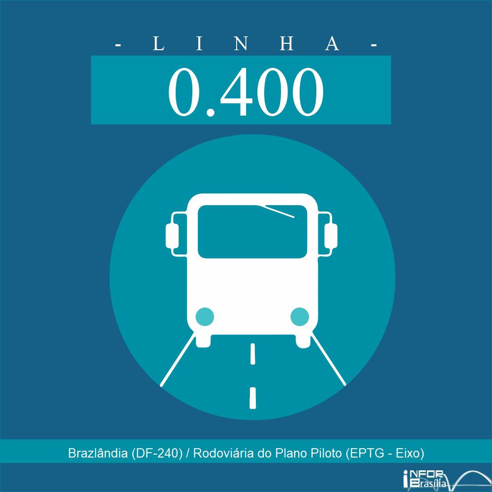 Horário de ônibus e itinerário 0.400 - Brazlândia (DF-240) / Rodoviária do Plano Piloto (EPTG - Eixo)