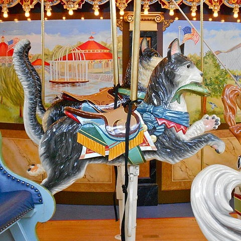Jumping cats on carousel at Woodside Park