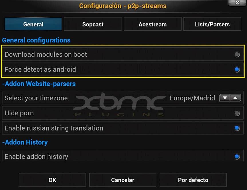 Configuration ACESTREAM SOPCAST XBMC KODI