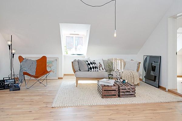 décoration style scandinave salon fauteuil butterfly caisses en bois