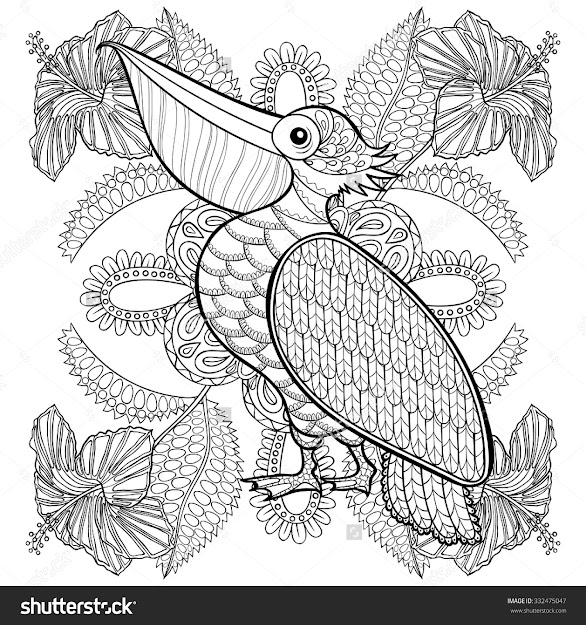 Coloring Page With Pelican In Hibiskus Flowers Zentangle Illustartion For Adult  Coloring Books Or Tattoos