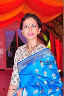 Actress Model Shilpa Reddy Exclusive Stills in Blue Saree at Vijay Karan Aashna Wedding  0001.JPG