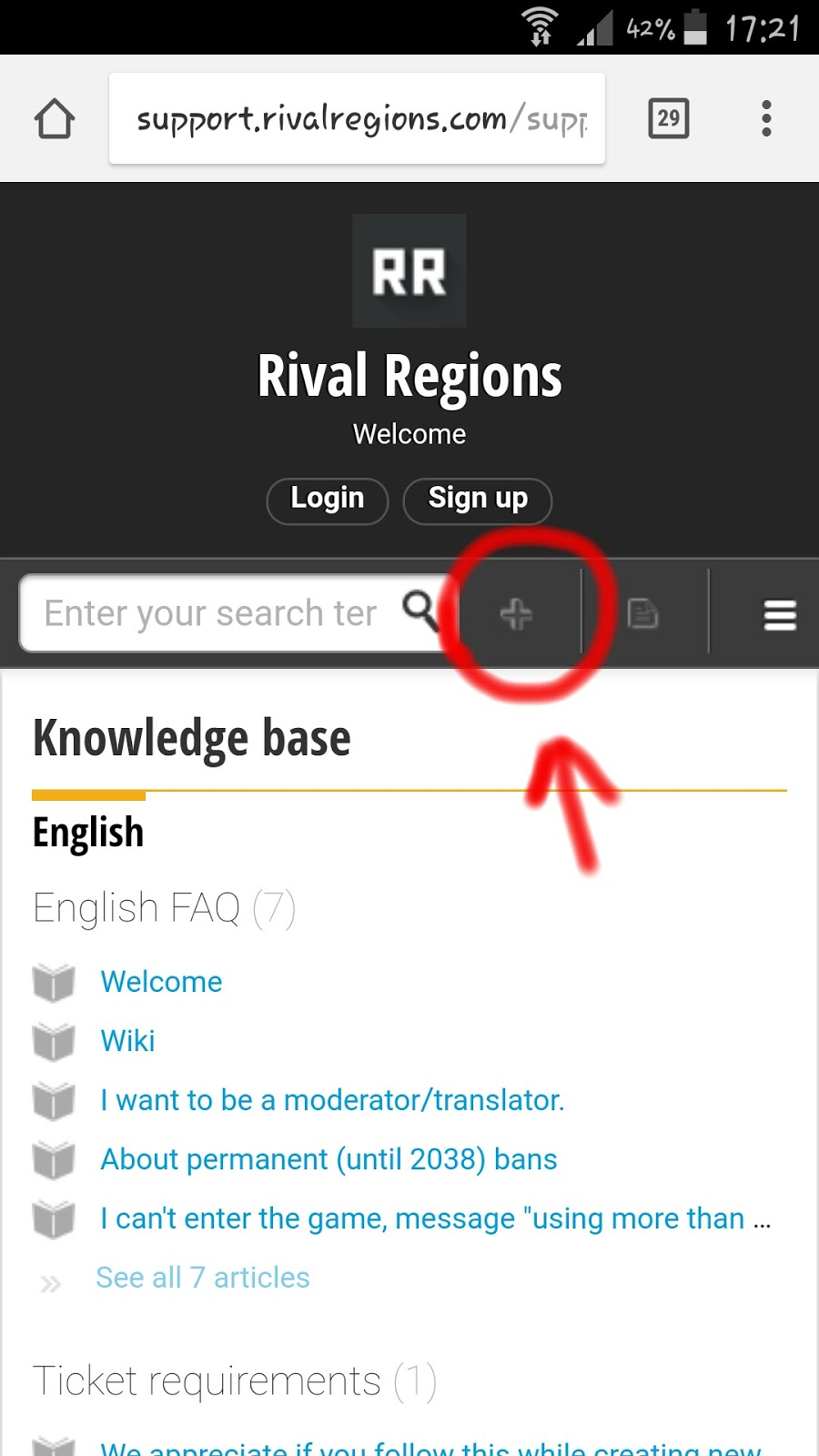 Rival Regions support homepage