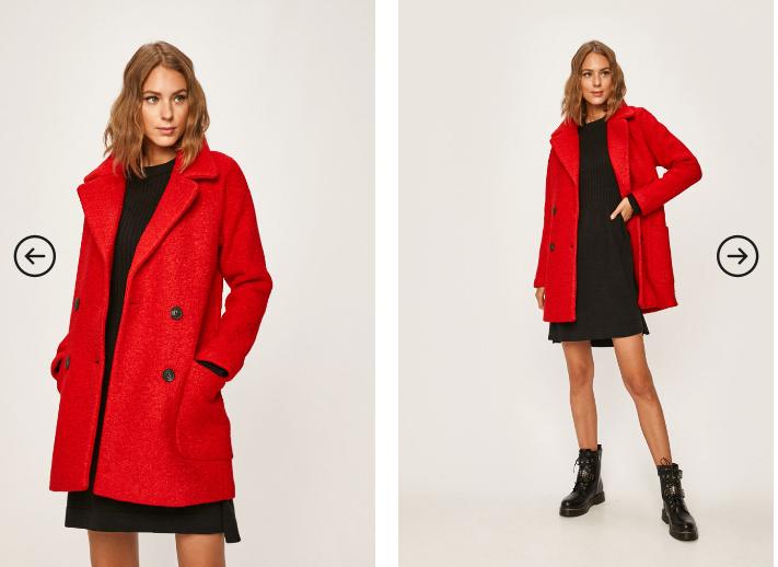 Palton scurt de femei rosu din lana ieftin pentru iarna