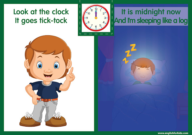 Telling the time worksheet - midnight o'clock on the clock - printable ESL resources