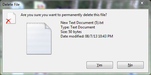 Recycle bin location size duplicate confirmation dialog permanent deletion