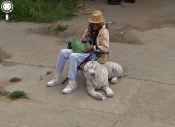 18 Hilariously Weird Moments Captured On Google Street View - An interesting choice for a pet!