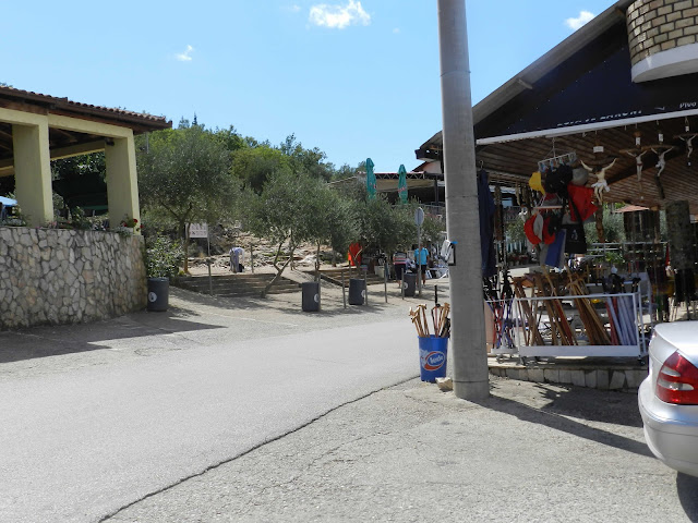 A view of the cafes and souvenir shops at the base of Cross Mountain
