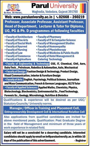 Parul University Vadodara Wanted Professor Associate Professor Assistant Professor Faculty Teachers