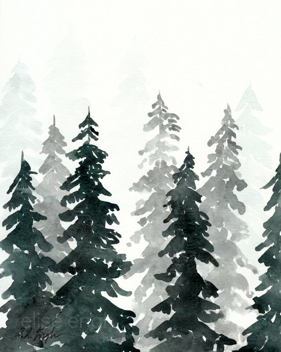 Original watercolor pine trees in winter by Elise Engh 2016