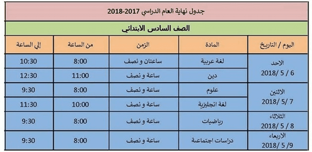 جدول امتحانات الصف السادس الابتدائي 2018 الترم الثاني محافظة الاسكندرية