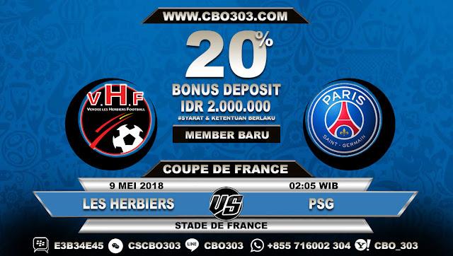 Prediksi Bola Les Herbiers VS PSG 9 Mei 2018