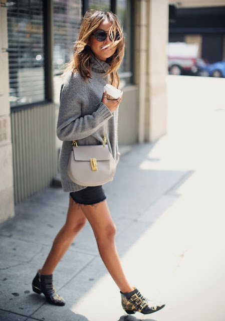 Sincerely Jules - Chloe Drew Bag, Grey Knit Sweater, Studded Ankle Boots