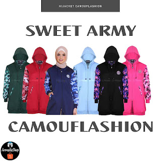 Jaket Hijab CAMOUFLASHION Sweet Army Jaket Muslimah PREMIUM FLEECE