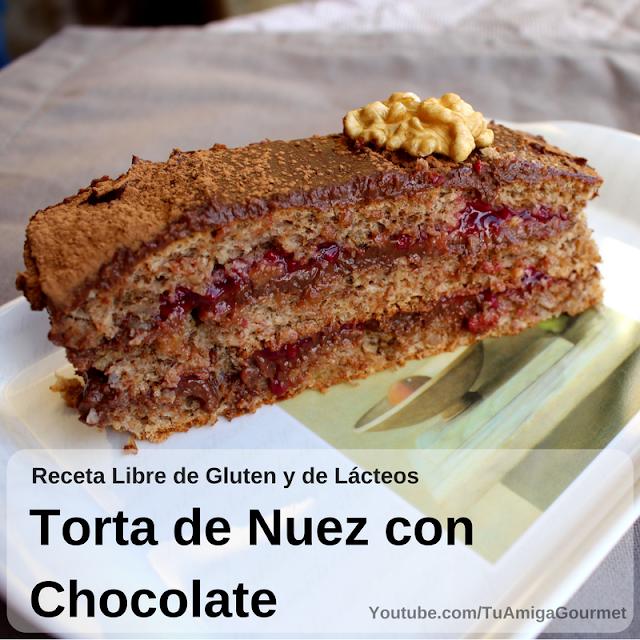 Torta de nuez con crema pastelera de chocolate