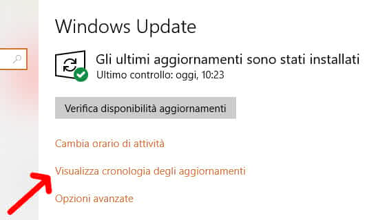 Visualizzare la cronologia degli aggiornamenti Windows