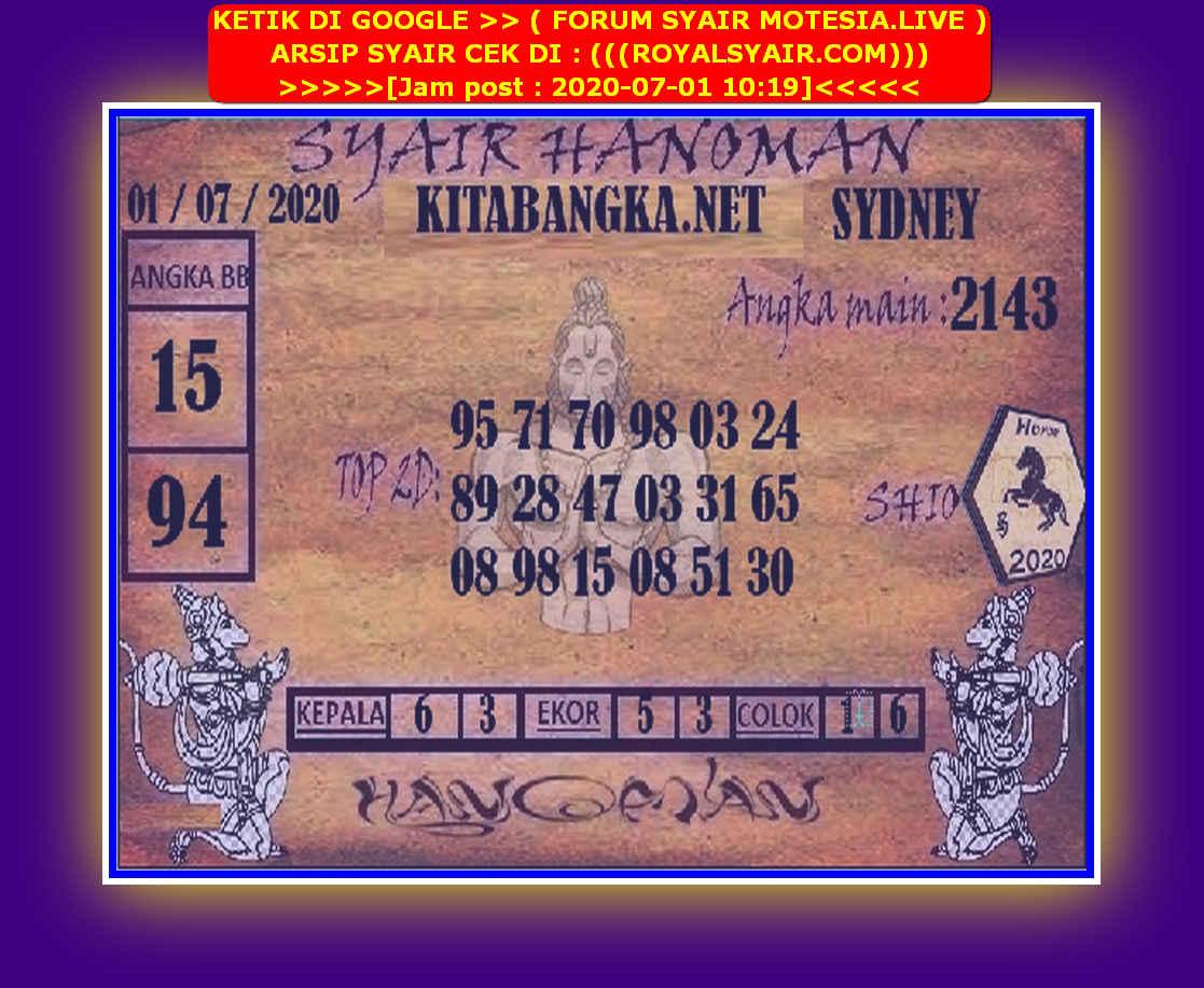 Kode syair Sydney Rabu 1 Juli 2020 163