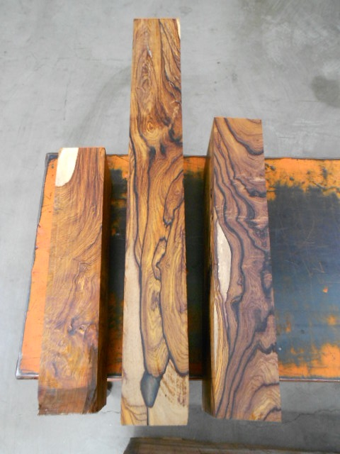 Tropical Exotic Hardwoods Three Highly Figured Cocobolo Billets