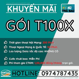 T100X - GÓI KHUYẾN MÃI TRẢ SAU VIETTEL T100X