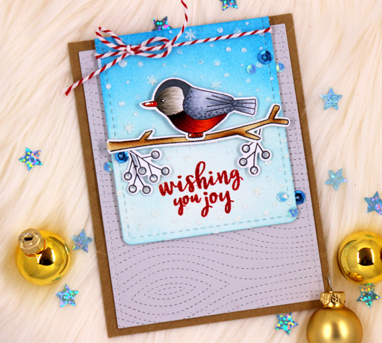 Christmas Nuthatch Card by Ellen Haxelmans | Winter Birds Stamp Set by Newton's Nook Designs #newtonsnook #handmade