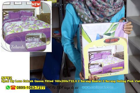 Sprei My Love Zahrah Queen Fitted 160x200xT22,5 2 Sarung Bantal 2 Sarung Guling Pink Violet Putih Bunga Dewasa