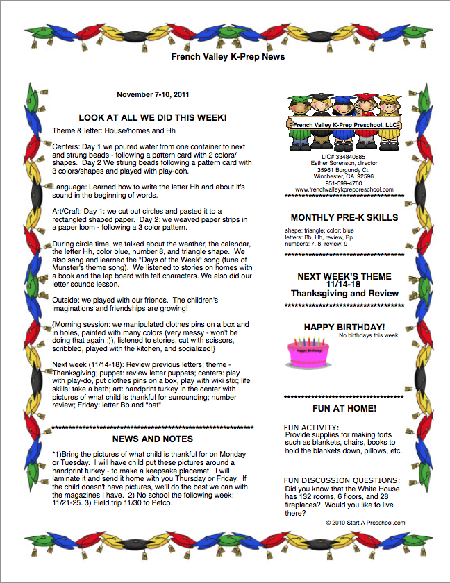 Blog for French Valley K Prep Preschool LLC November 2011