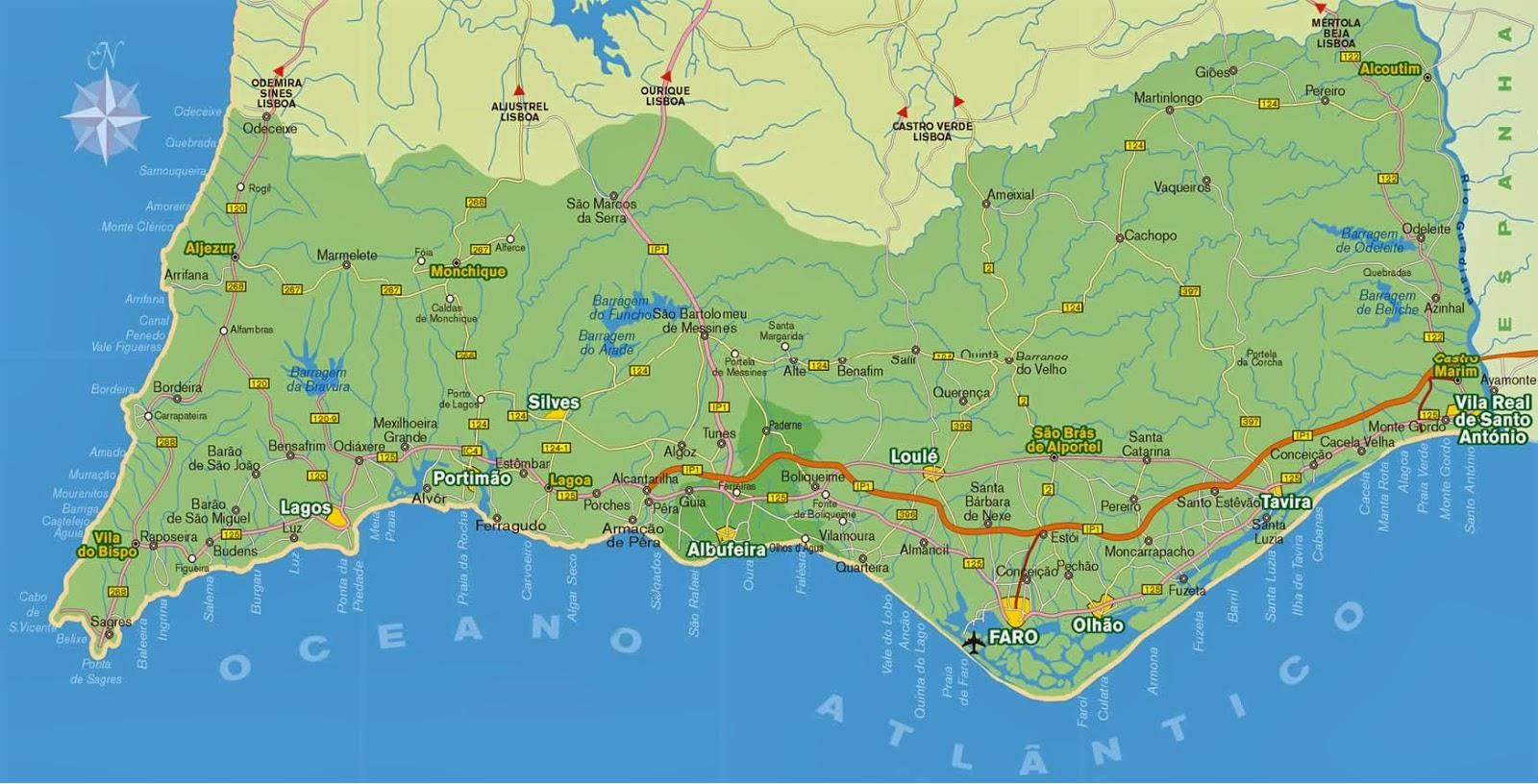mapa da regiao do algarve Mapas de Faro   Portugal | MapasBlog mapa da regiao do algarve