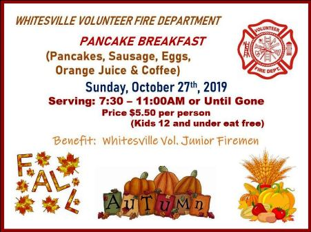 10-27 Pancake Breakfast, Whitesville VFD
