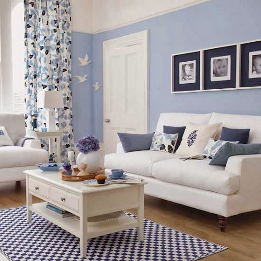 Simple Blue Living Room Interior Design