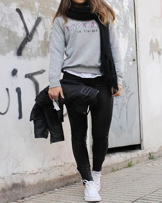 outfit de invierno casual con pantalón negro