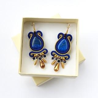 Lyria earrings in cobalt, brown and gold