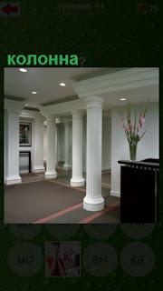 установлены белые колонны в помещении комнаты