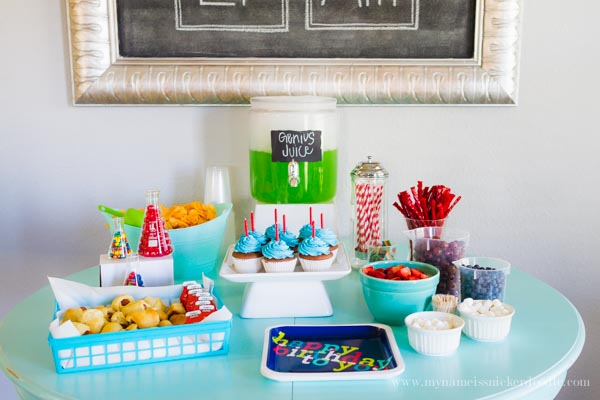 Such a great food table for a science themed birthday party!  mynameissnickerdoodle.com
