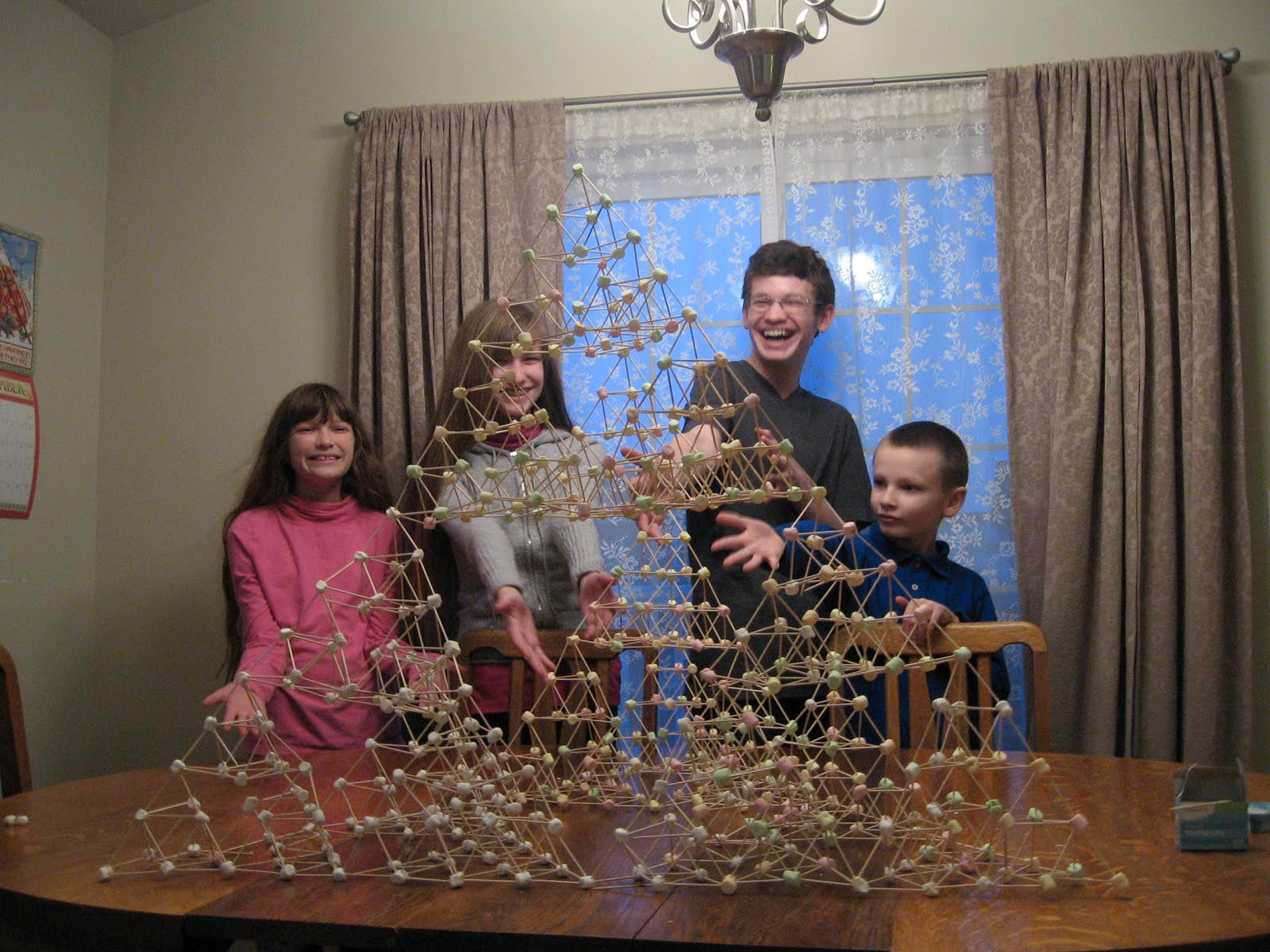 Almost Unschoolers Building A Bigger Pyramid Marshmallow And Toothpick Tetrahedrons Take Ii