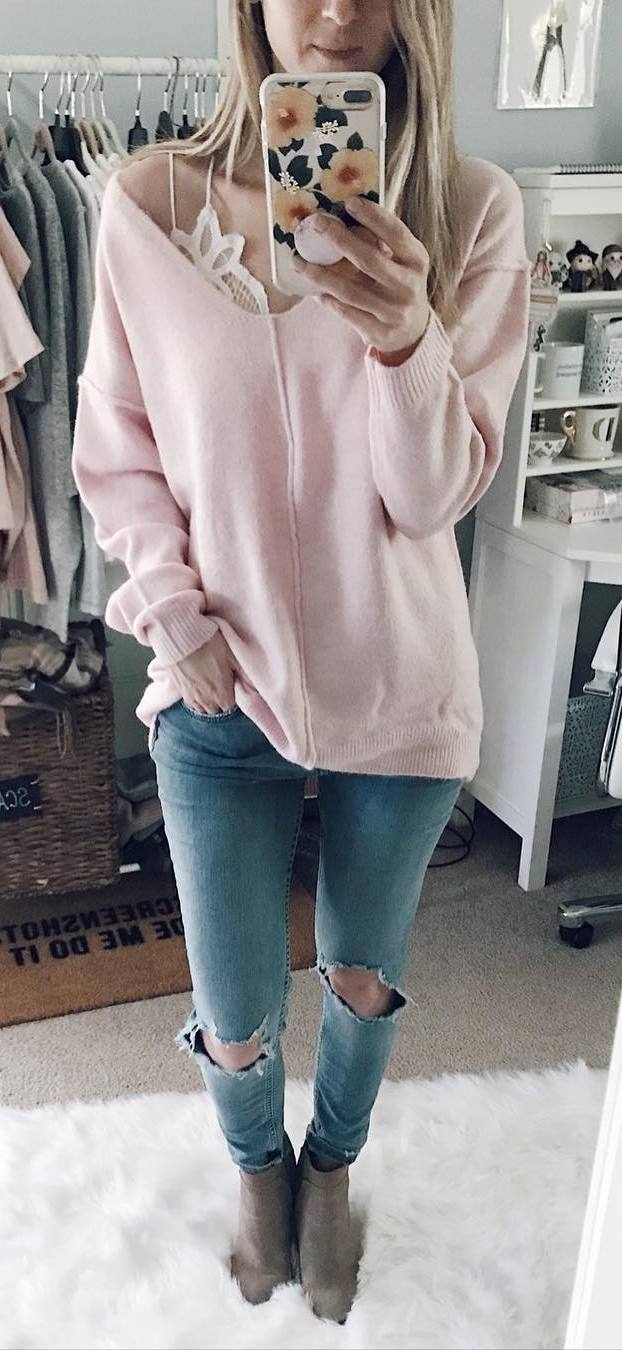 casual style perfection / lace top + blush sweater + ripped jeans + boots